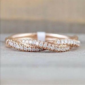 14k Yellow Gold Diamond Rope Pave Wedding Band